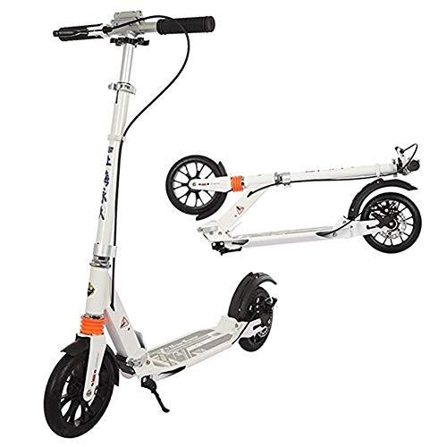 XINKONG Scooter De Pedal Unisex For Adultos con Disco De Freno De Mano, Scooter Plegable, Doble Suspensión, Soporte De 150 Kg, No Eléctrico (Color : White)