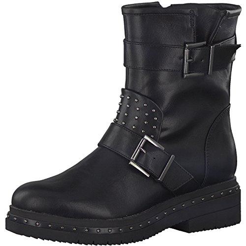 Tamaris 1-1-25943-39 Damen Stiefel, Stiefelette, Biker-Boot, Boot, Winterstiefel, Herbstschuh für die modebewusste Frau, funktionaler Reißverschluss schwarz (Black), EU 41