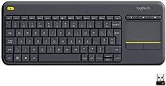 Logitech K400 Plus Teclado Inalámbrico con Touchpad para Televisores Conectados a PC, Teclas Especiales Multi-Media, Windows, Android, Ordenador/Tablet, Disposición QWERTY Español, color Negro