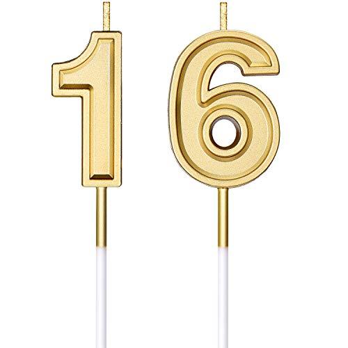 Velas de Cumpleaños de 16 Años Velas Número de Pastel Decoración Topper de Velas de Pastel de Feliz Cumpleaños para Suministros de Celebración Aniversario Boda Cumpleaños