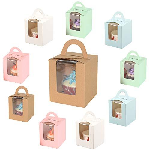10 Piezas Cajas de Cupcakes para Regalo, Caja Pasteleria, Cajas para Pasteles...