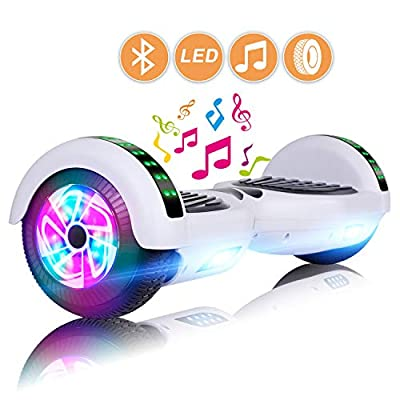 "LIEAGLE Hoverboard 6.5"" Two-Wheel Self Balancing Electric Scooter UL 2272 Certified with LED Lights Flash Lights Wheels (White)"
