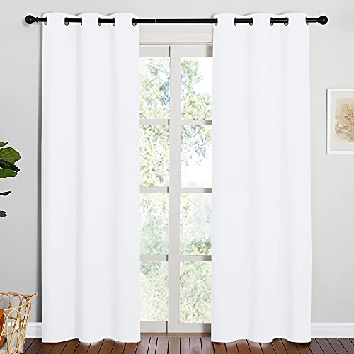 NICETOWN Window Treatment Curtain Set - 50% Light Reducing Curtains for Living Room, Curtain Panels for Patio Door (2 Panels, 42 inches x 84 inches, Pure White)