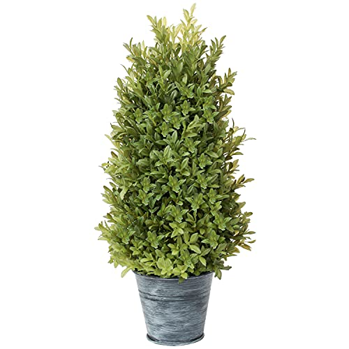 """Artificial Boxwood Cone Topiary 18"""" Tower Style Fake Tree Plant with Galvanized Pot for Home Indoor Outdoor Potted Decor, Autumn Green"""