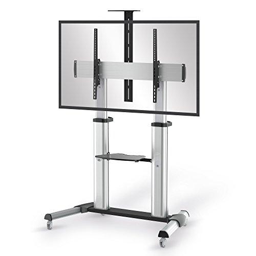 conecto LM-FS03G Pro TV Ständer Standfuß rollbar Universal für Monitor Fernseher LCD LED Plasma mobil mit Rollen höhenverstellbar schwenkbar drehbar 55-100 Zoll (152-254cm) VESA 200x200 1000x600 Alu