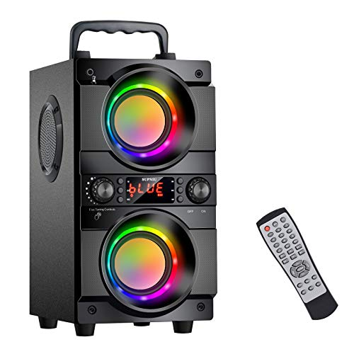 60W (80W Peak) Portable Bluetooth Speaker with Double Subwoofer Heavy Bass, Bluetooth 5.0 Wireless 100ft Outdoor Speaker, Support FM Radio, LED Colorful Lights, Stereo Sound, for Home, Party, Travel
