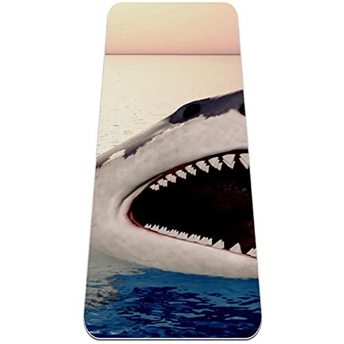Alfombra de yoga gruesa y respetuosa con el medio ambiente, antideslizante, extragrande, tiburón en azul océano