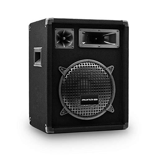 auna Pro PW - passiver PA-Lautsprecher PA-Box, 3-Wege-Bauweise, Piezo-Hochtöner, Horn-Mitteltöner, Impedanz: 8 Ohm, schwarz, Subwoofer, Belastbarkeit: 200 Watt RMS / 400 Wmax.