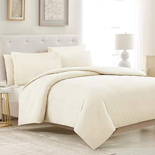 RUIKASI, Juego de funda nórdica de microfibra de 260 x 240 cm + 2 fundas de almohada de 50 x 80 cm, cama de matrimonio, 4 estaciones, color crema