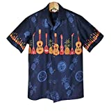 メンズ アロハシャツ ハワイ製 Winnie Fashion ネイビーブルー地/ウクレレ&パイナップル柄(XL (USサイズ))
