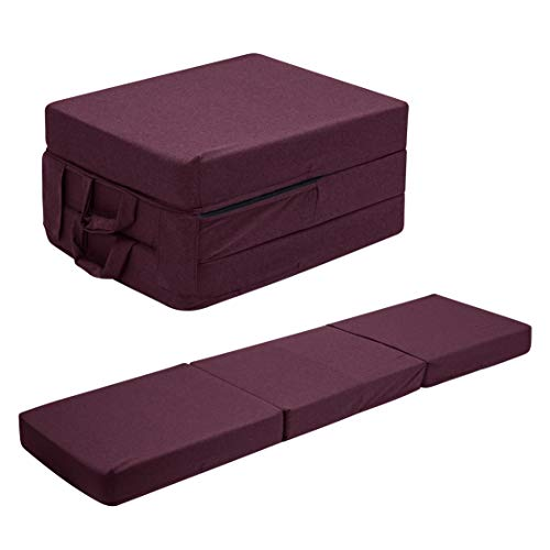 UTZ Fold Out Foam Guest Z Bed Single Chair Folding Mattress Sofabed Futon Chairbed Z Bed Maroon