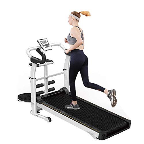 Airpow Manual Treadmill - Adjustable Height Mechanical Treadmill - 3-in-1 Walking Treadmill Sit-ups Pannel T-wisting Machine and Massage Wheel, LED Display Folded Mechanical Treadmill (US Stock)