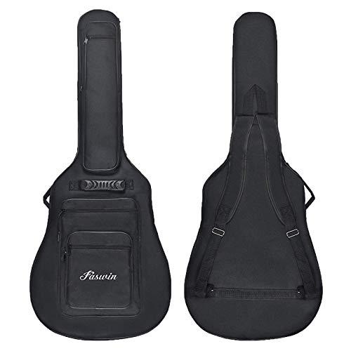 Faswin 41 Zoll Gitarrentasche Gig Bag Gitarre Tasche mit 6 Taschen Plektren Gitarrenstrap (Schwarz)