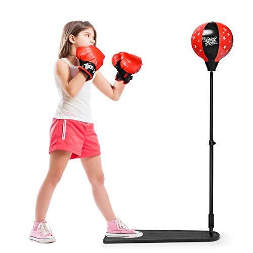 DREAMADE Boxset Boxstand für Kinder, Punchingball Set höhenverstellbar 85cm- 130cm, Punching Standbox mit Fußpedal für Kinder über 8 Jahre alt, Standboxsack mit Boxhandschuhen & Pumpe