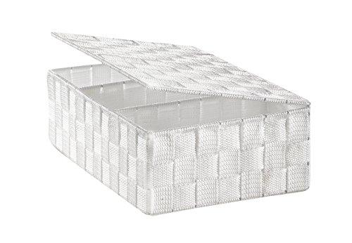 Kobolo Regalkorb Aufbewahrungsbox - mit Deckel Unterteilung - weiß - 30x20x10 cm