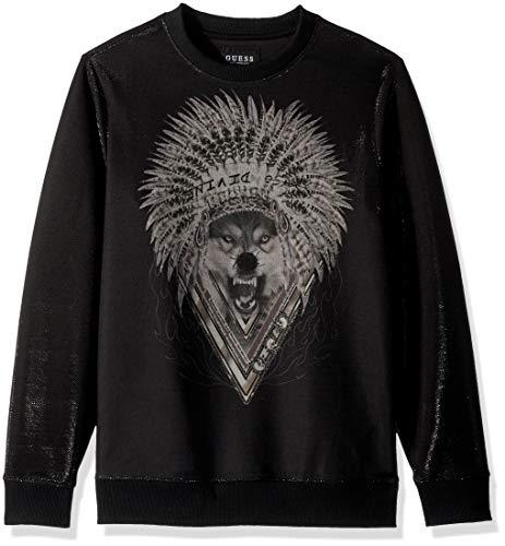 GUESS Men's Long Sleeve Luther Wolf Crew Neck Shirt, Jet Black a, XL