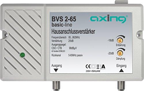 Axing BVS 2-65 Hausanschlussverstärker 25 dB für Kabelfernsehen digital (85-862 MHz, Rückkanal 5-65 MHz)