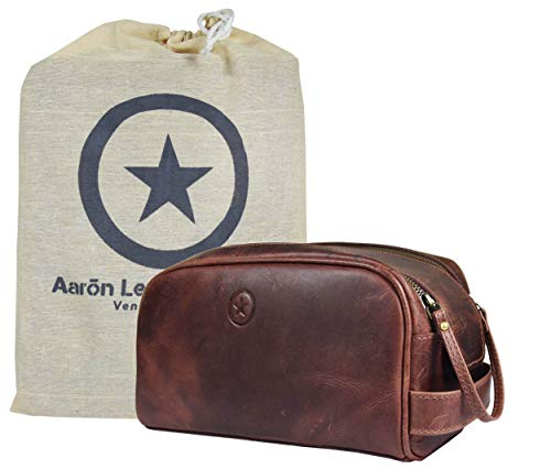 Leather Toiletry Bag for Men   Grooming Travel Kit   by Aaron Leather (Dark Brown- Dual Zipper) (Walnut)