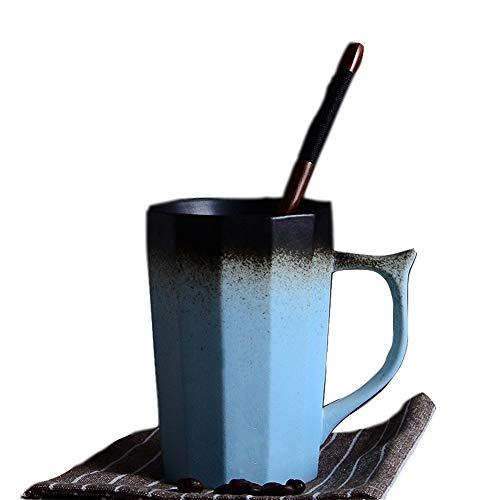 Retro kleurverloop Peeling keramische mokken, uitgebreid kleurverloop koffiemokken 12-13 ounce, smaakvol geschenk voor Vaderdag, origineel handgemaakt, voor kantoor en thuis blauw