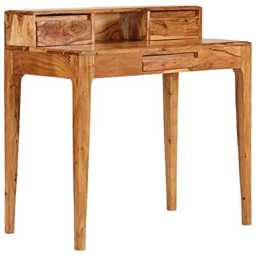 Vintage Schreibtisch mit Schubladen & Fach, Schreibpult, Homeoffice, Büro, Arbeitszimmer, Wohnzimmer, stabil, platzsparend, einfacher Aufbau, Industrie-Design, Akazien-Massivholz