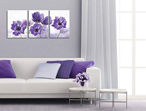 Canvas Art Wall Decor for Bedroom Purple Flower Bloom Close Up Pictures Prints on Canvas Wall Decoration for Bedroom Simple Life Modern Minimalism Artwork Framed Wall Art 3 Piece Canvas Wall Art Set