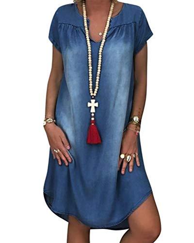 Minetom Sommerkleid Jeans Kleider Damen V-Ausschnitt Strandkleider Einfarbig A-Linie Kleid Boho Knielang Kleid Ohne Zubehör Denimkleid C Blau 40