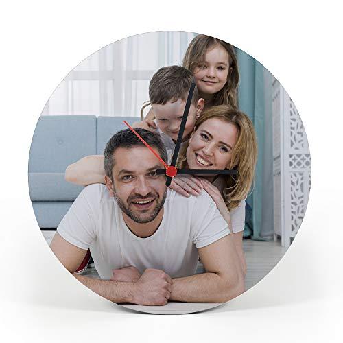 Gifty Lab Orologio Personalizzato con la Tua Foto - Orologio da Parete in Legno - Tondo Diametro 30cm, Senza Numeri