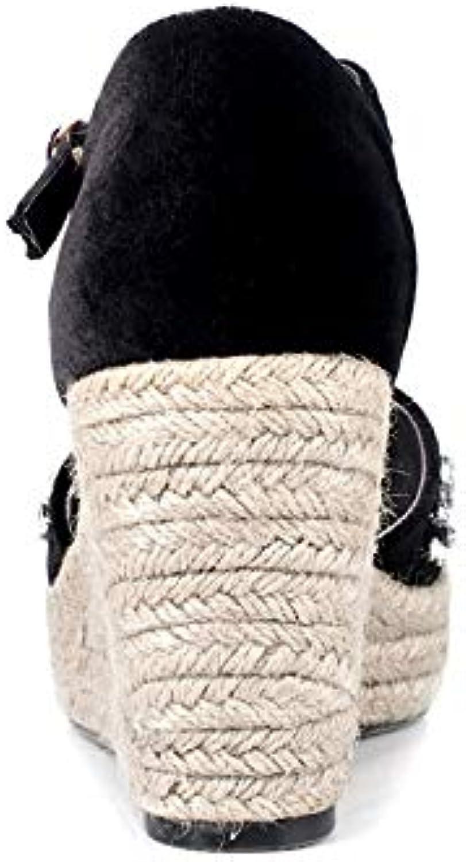 HOESCZS Frauen Flock Knchelriemen Keile High Heel Solid Kristall Plateauschuhe Frau Casual Sommer Sandalen schwarz Gre 34-39,