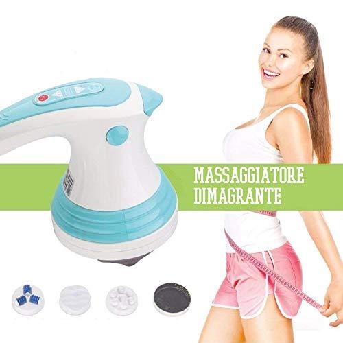 Bakaji Massaggiatore Elettrico Anticellulite 3 Testine Rotanti Massaggio Snellente Tonificante per Pancia Fianchi Gambe Corpo Cervicale Collo Spalle