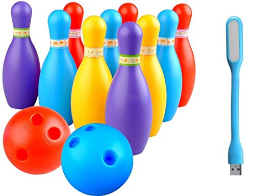 BKDT Marketing Plastic Bowling set game with 10 pin bottles and 2 balls with usb led light, Multicolour, 3-8 yrs, Bowling set game with 10 pin bottles and 2 balls