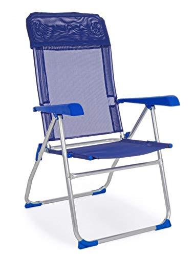 PEGANE Chaise Pliante Multipositions Aluminium et textilène, Coloris Bleu - Dim : L 66 x P 60 x H 106 cm