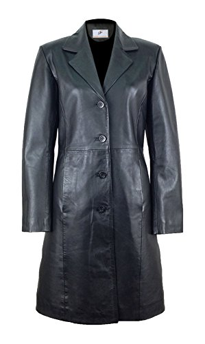 Figura Fashionz Fantastic Black Long Body Genuine Lambskin Leather Coat for Women
