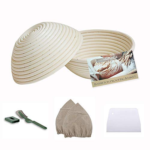 Bread Talk 2 Pack Bread Proofing Basket - Banneton Proofing Basket + Cloth Liner + Dough Scraper for Professional and Home Bakers Artisan Bread Making … (10' Round)