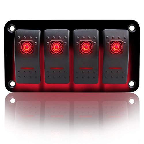 KAOLALI Interruptor de palanca de 4 pandillas de encendido y apagado IP65 impermeable 12 V 24 V LED Panel de interruptor basculante para barco, RV, coche, camión, remolque, yate (rojo)