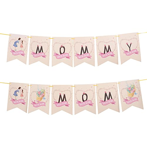 SOIMISS Mothers Day Decorations Mommy Mom Hanging Banner Holiday Decorative Hanging Pendants For Mothers Day Birthday Photo Props 2Pcs