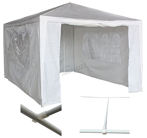 KMS FoxHunter Waterproof 3m x 4m PE Gazebo Marquee Awning Party Tent Canopy White 120g Polyester Power Coated Steel Frame With Support Beam