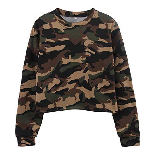 Shirt Damen Langarm Elegant Rundhals Hemd Vintage Modern Camouflage Locker Kurzes Sweatshirt Personalisierte Sexy Casual Sport T Shirt Tops Herbst Weihnacht Party Blouse XXL