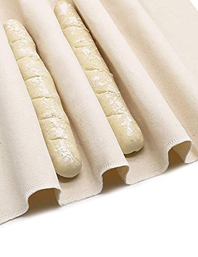 Zhiyouni Professional Bakers Dough Couche, 100% Pure Cotton Pastry Proofing Cloth Bakers Couche Linen For Baking French Bread Baguettes Loafs - Sturdy & Thick Fabric (18x30 Inch)