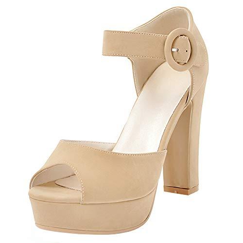 FANIMILA Women Sweet Peep Toe Party Sandals High Heel Platform Wedding Dress Summer Shoes with Bow Apricot Size 38 Asian