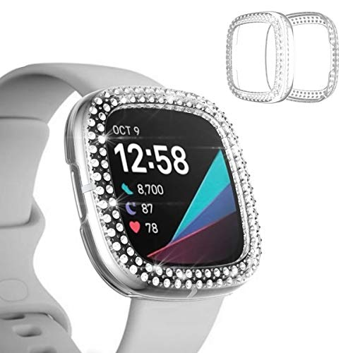 Miimall Kompatibel mit Fitbit Sense/Versa 3 Hülle Cover Frauen Blings Strass PC beschichtet Anti-Scratch Bumper Case für Fitbit Sense Fitbit Versa 3 (transparent)