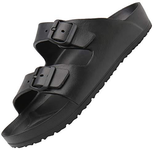 SAGUARO Hombres Pantuflas Elástico Flexible Sandalia Mujeres Ultraligero Sandalias de Playa Cómodo Verano Unisex Adulto Suave Suela Zapatillas de Baño Piscina Slipper Interior, Negro 38