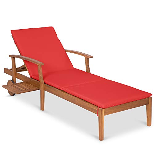 Best Choice Products 79x30-inch Acacia Wood Chaise Lounge Chair Recliner, Outdoor Furniture for Patio, Poolside w/Slide-Out Side Table, Foam-Padded Cushion, Adjustable Backrest, Wheels - Red
