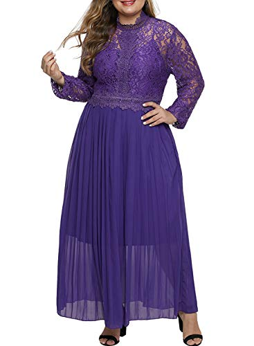 Aleumdr Damen Plus Size Lange Abendkleider Cocktail Kleider Spitzen Hoher Kragen Lange Ärmel Partykleid Violett XL