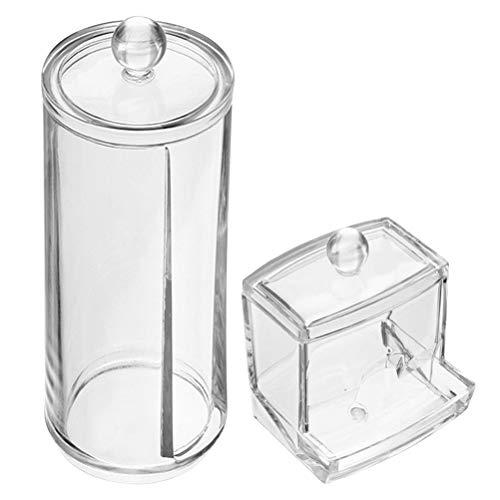 FOROREH Boîte de Coton-Tige, Boîte de Rangement pour Disque de Coton Visage avec Couvercle, Boîte de Rangement pour Organisateur Cosmétique de Maquillage Transparent, Récipient pour Coton (2 Pièces)