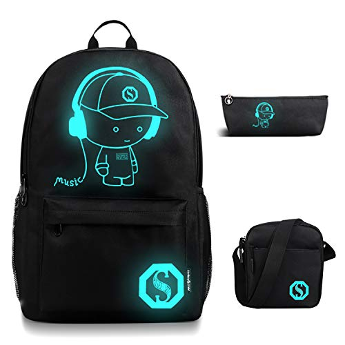FLYMEI Anime Luminous Backpack for Boys, Girls School Daypack with Shoulder Bag 17'' Laptop Back Pack, Lightweight Travel Bag, Cool Cartoon Backpack for Men