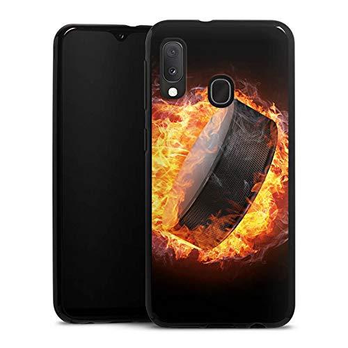 DeinDesign Silikon Hülle kompatibel mit Samsung Galaxy A20e Case schwarz Handyhülle Eishockey Feuer