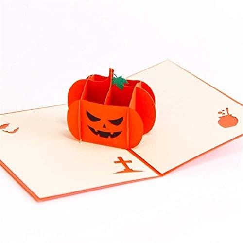 1 st 45 g Scary Spooky 3D Halloween wenskaart Heks geest pompoen spin 3D Pop Up laser voor kinderen Halloween thema partij @30, Halloween kaart