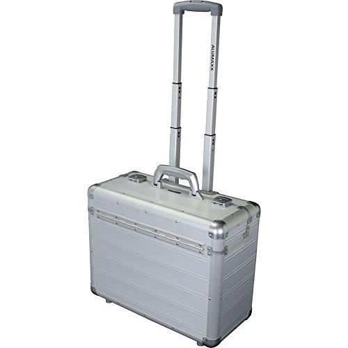 Hochwertiger Alumaxx Business-Trolley aus Aluminium Alu Silber Matt, Piloten Hartschalen Koffer mit Laptopfach + sicheres Schloss-System mit Zweifachverschließung und Öffnungsautomatik