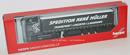 Herpa 308748 - Scania R tL curtain canvas semitrailer René Müller Transporte. 1:87