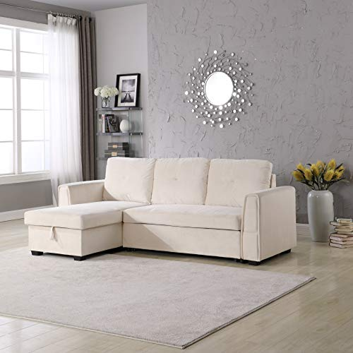 Legend Furniture Velvet Chaise Storage Reversible Sofa Bed Sleeper Sectional, Cream